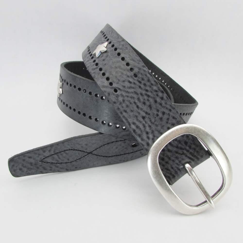grauer jeansg rtel 3 7 cm breit mit sternen 49 00. Black Bedroom Furniture Sets. Home Design Ideas