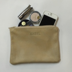 Leather Pouch klein sand