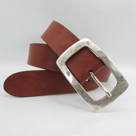 Ledergürtel mit Altsilberschnalle 4 cm breit